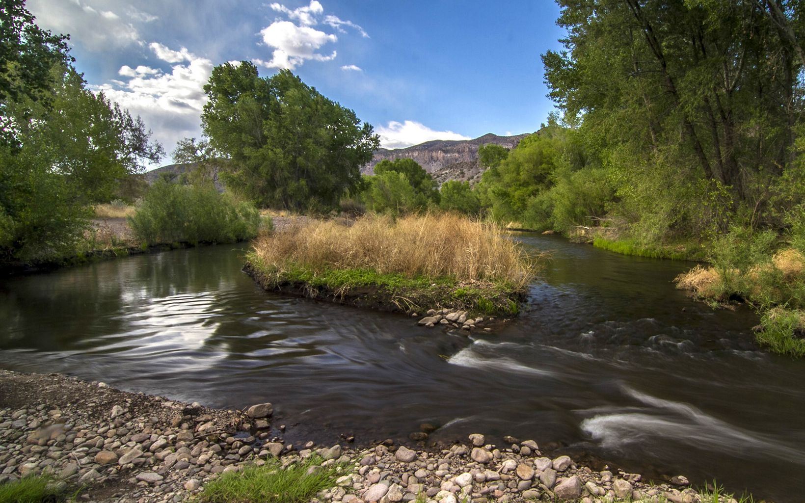 The Gila River flows around a small island under blue skies with forests and rocky hills in the background.