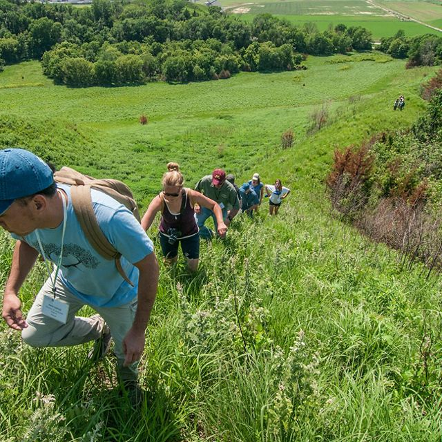 Hikers ascend western Iowa's Loess Hills