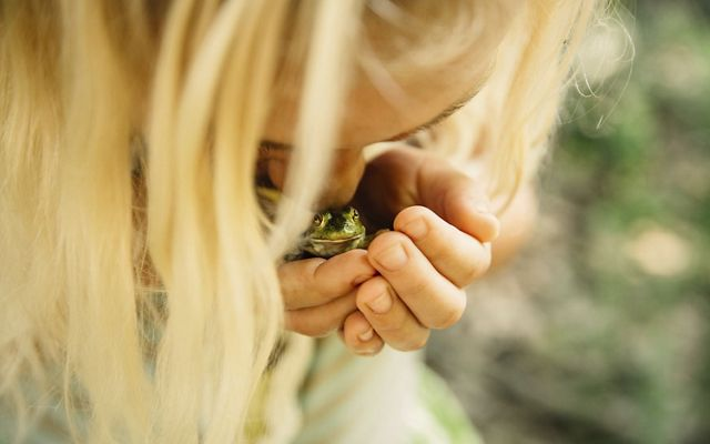 A young girl cups a frog in her hands and kisses its head.