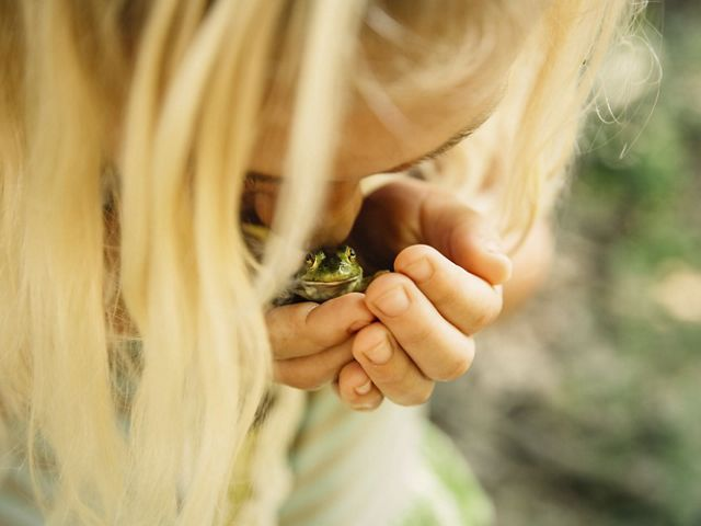 Girl kissing a frog