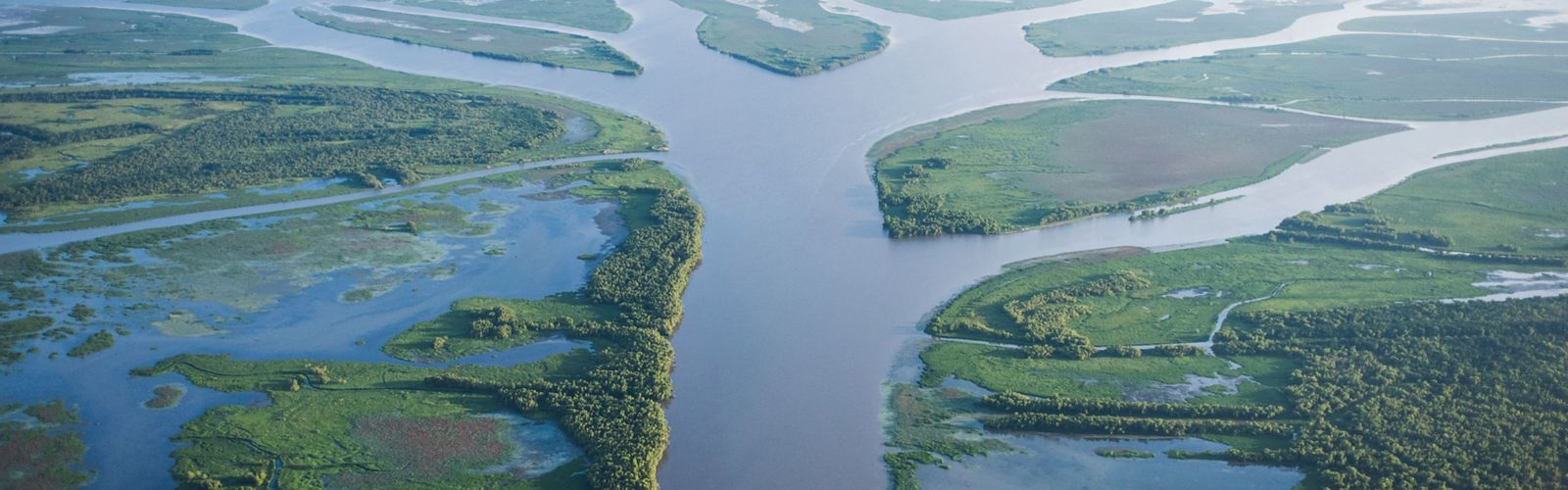 Aerial photo of the view looking south toward the Gulf of Mexico down the Wax Lake Delta, Louisiana.