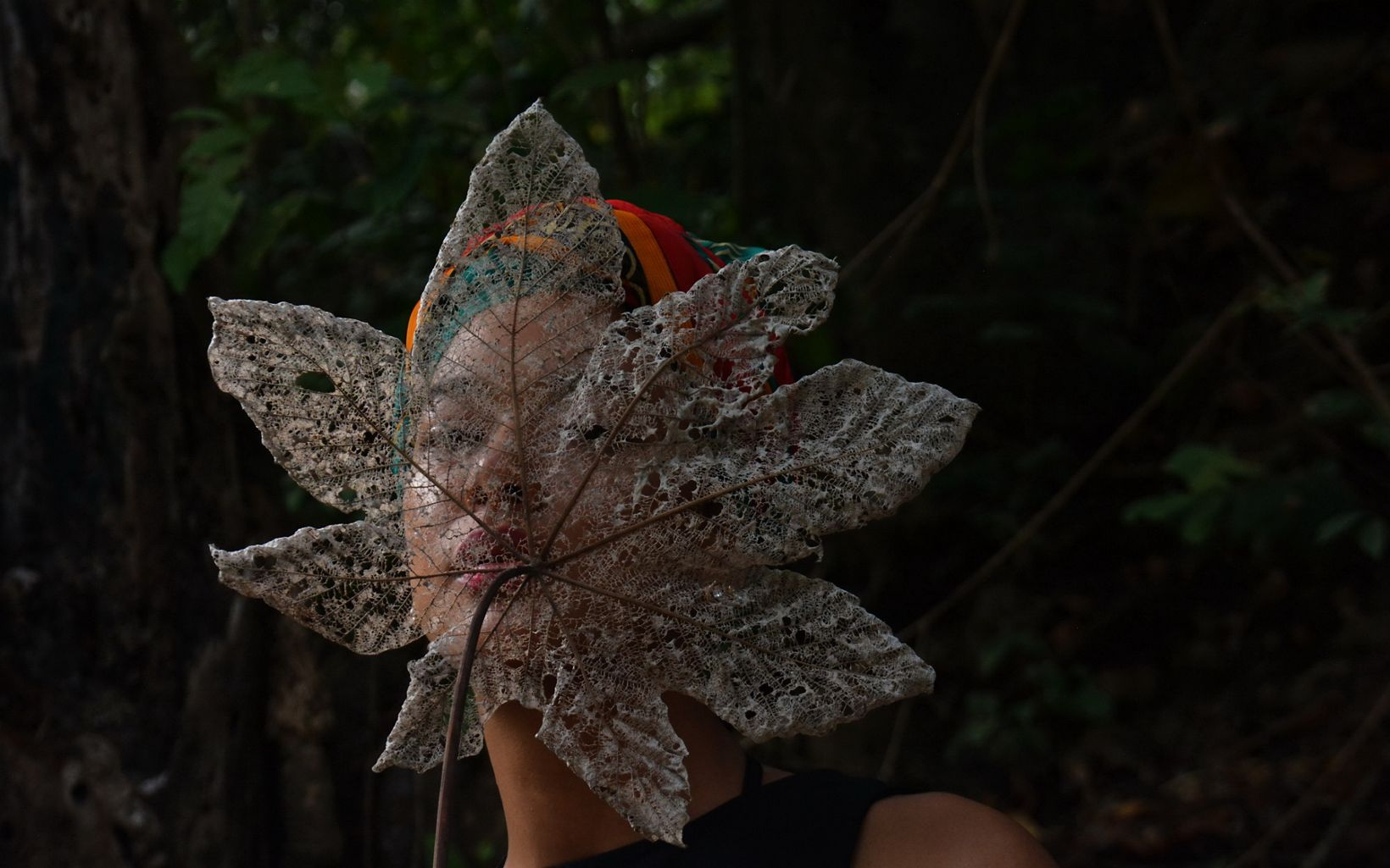 A woman holding the ribs of a dry leaf in Colombia.