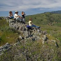 Conservancy staff pause to bird watch while hiking the Green Gulch trail above the Pacific coastline in California's Golden Gate National Recreation Area.
