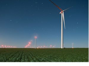 Night photograph of the Spearville Wind Farm just north of the town of Spearville, in Ford County, Kansas
