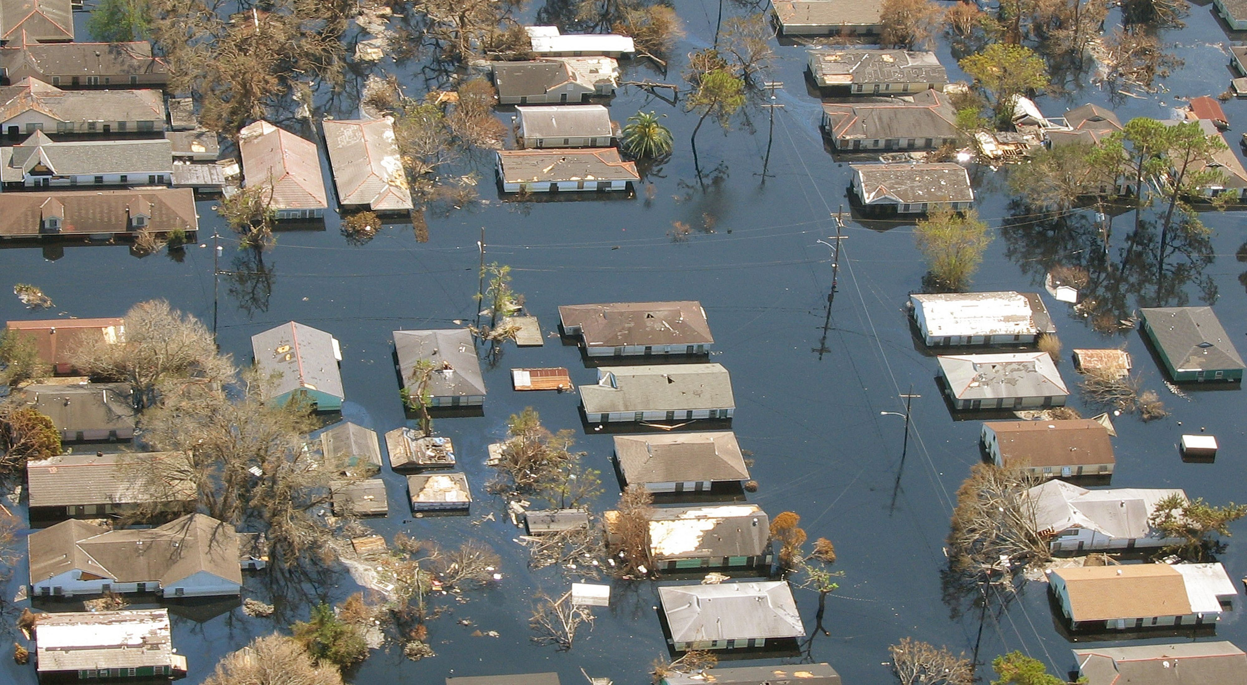 Arial views of flooded homes