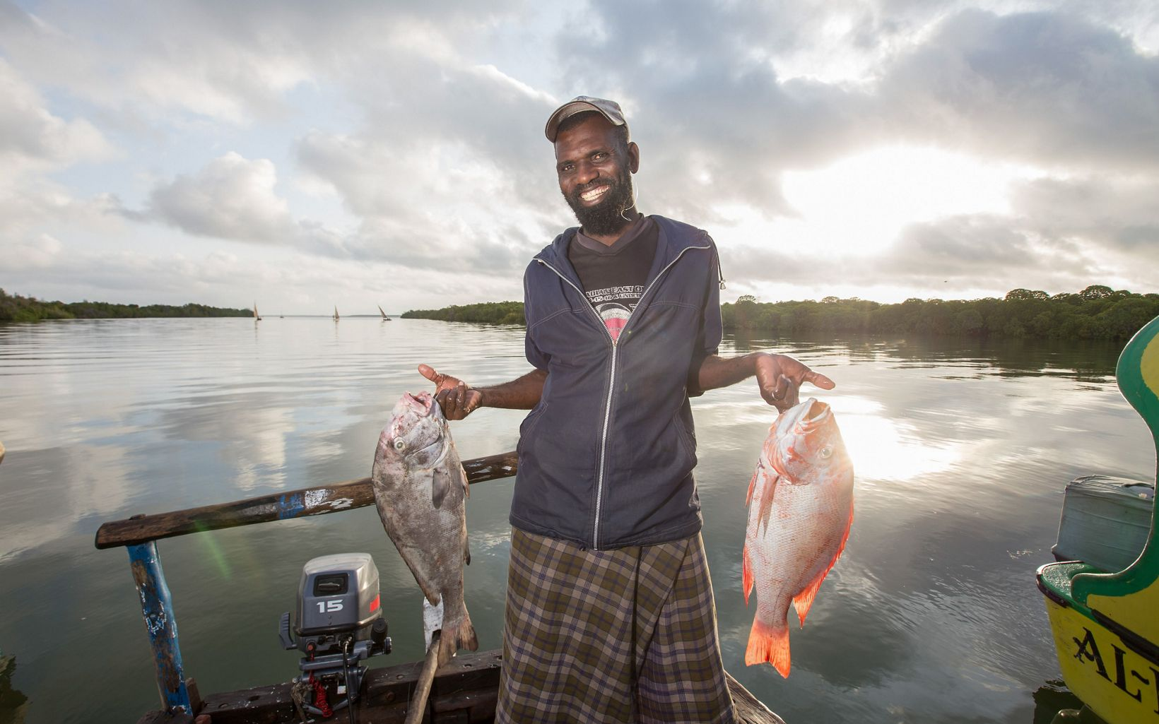 Mohamed is able to fish in the high seas because of a cooler he received for being a part of the OceanWORKS program. This allows him to catch larger fish.