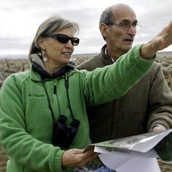 (ALL INTERNAL USES: LIMITED EXTERNAL USES) TNC's Robin Cox and  Douglas Reid, President of the Board of Directors of Fundación Neuquén take part in CAP (Conservation Planning process) on several large properties around the San Martin, Argentina. Photo credit: © Bridget Besaw