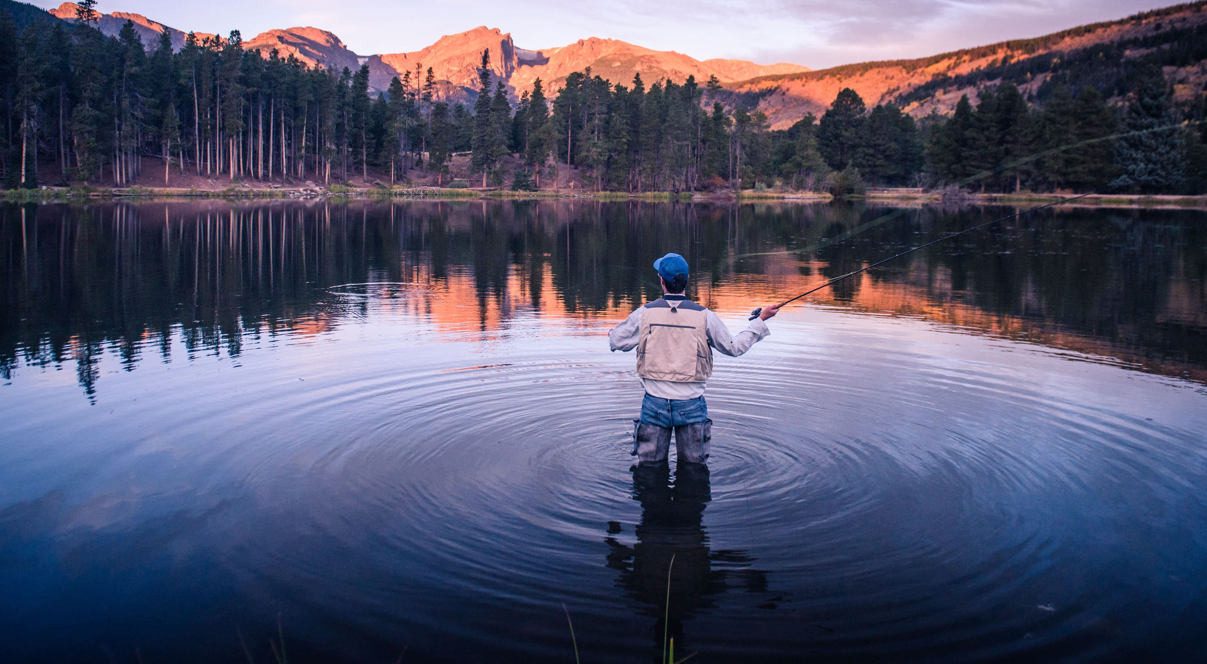 At more than 8,600 feet above sea level, Rocky Mountain National Park's Sprague Lake is a popular spot for fly-fishing and hiking.