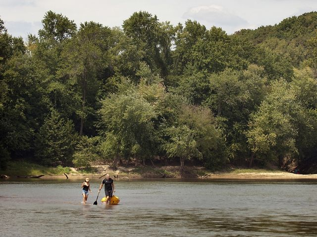kayakers on the Meramec River