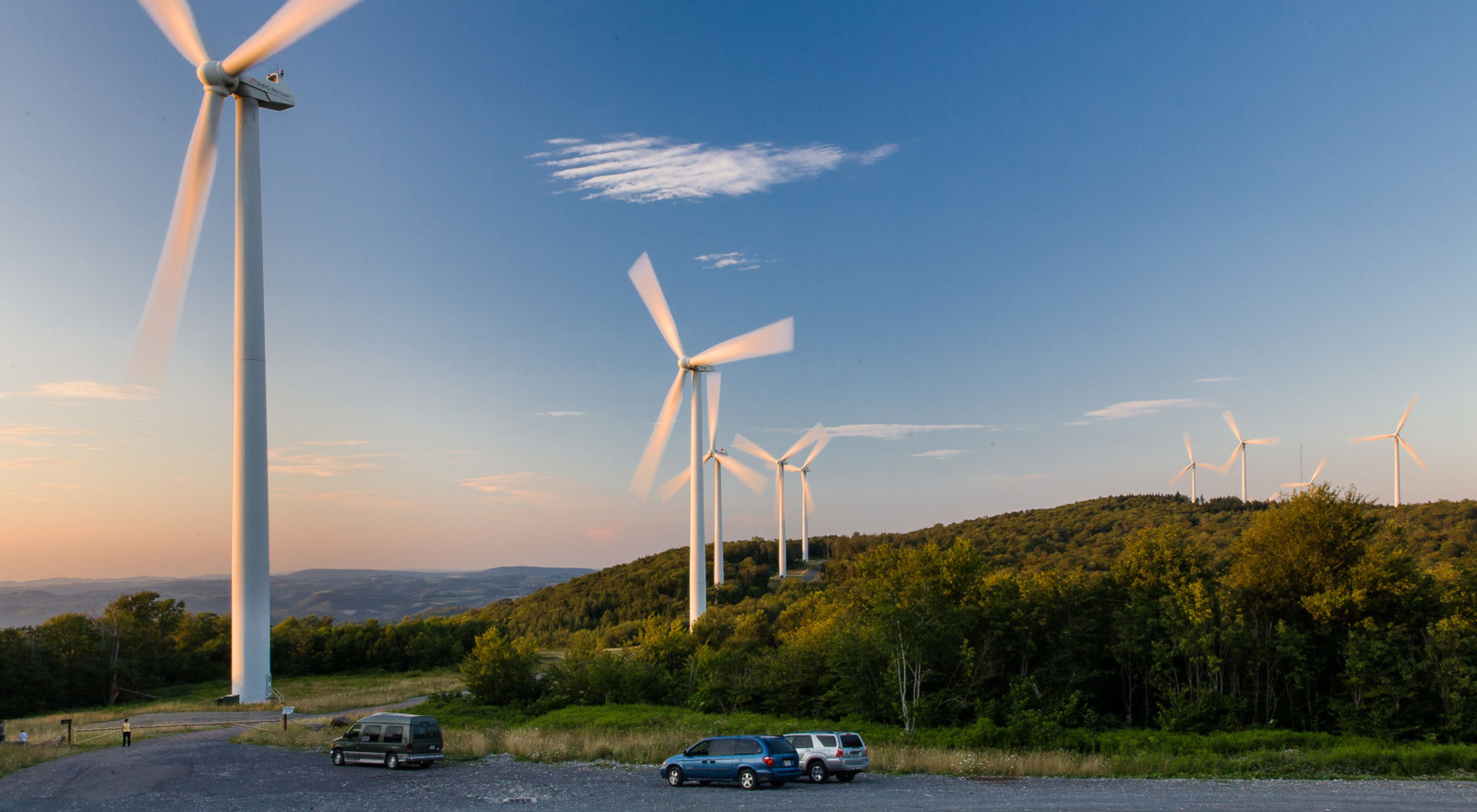 Photo of a wind turbines on a West Virginia hilltop.
