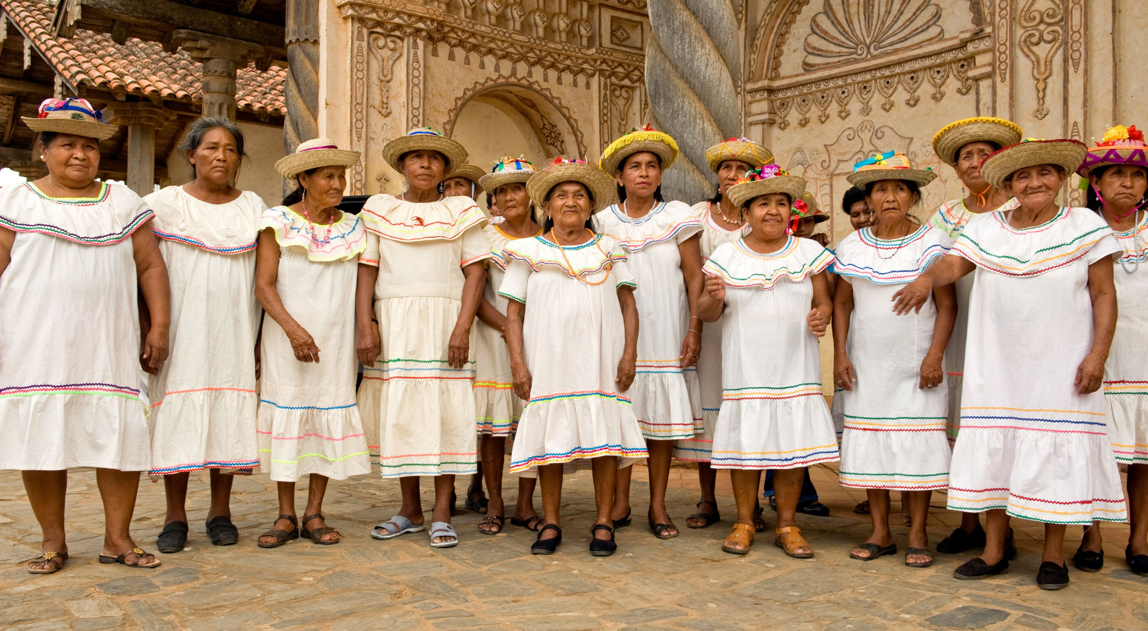 Bolivian women at a traditional ceremony during the Baroque Music Festival.