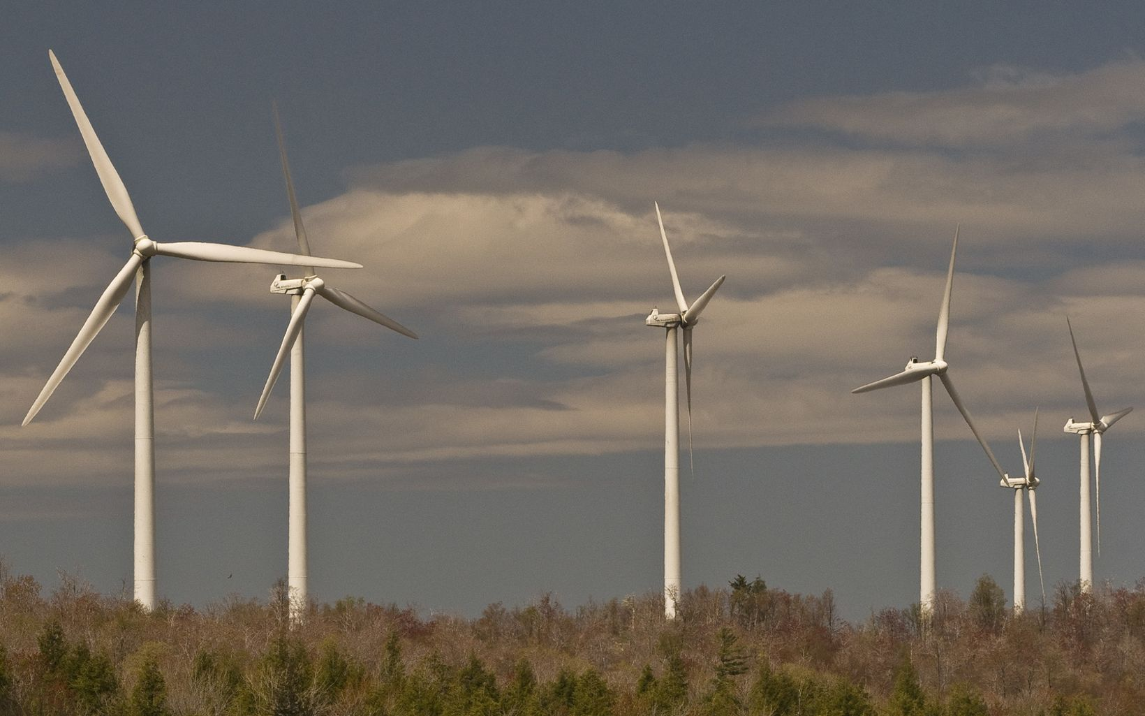 Wind power turbines atop a forest ridge in West Virginia.