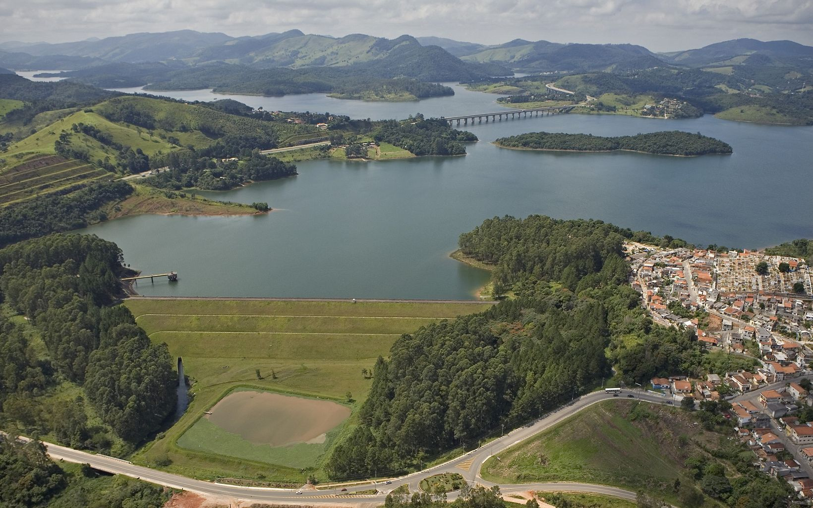 Aerial view of the Atibaina Reservoir near the town of Nazare Paulista, Brazil.