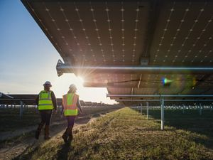 Two workers walk through a field of solar panels.
