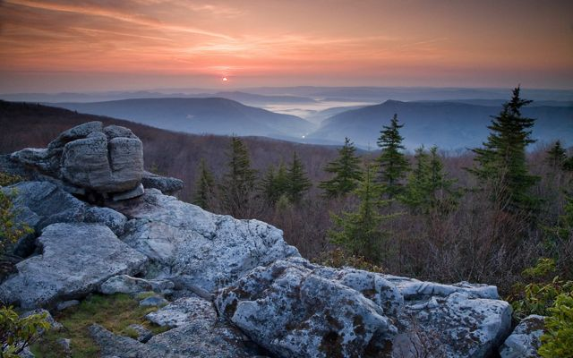 Sunrise viewed from the Dolly Sods Wilderness area in West Virginia.