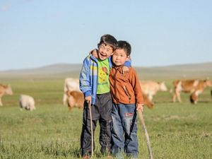 on the Mongolian grasslands.