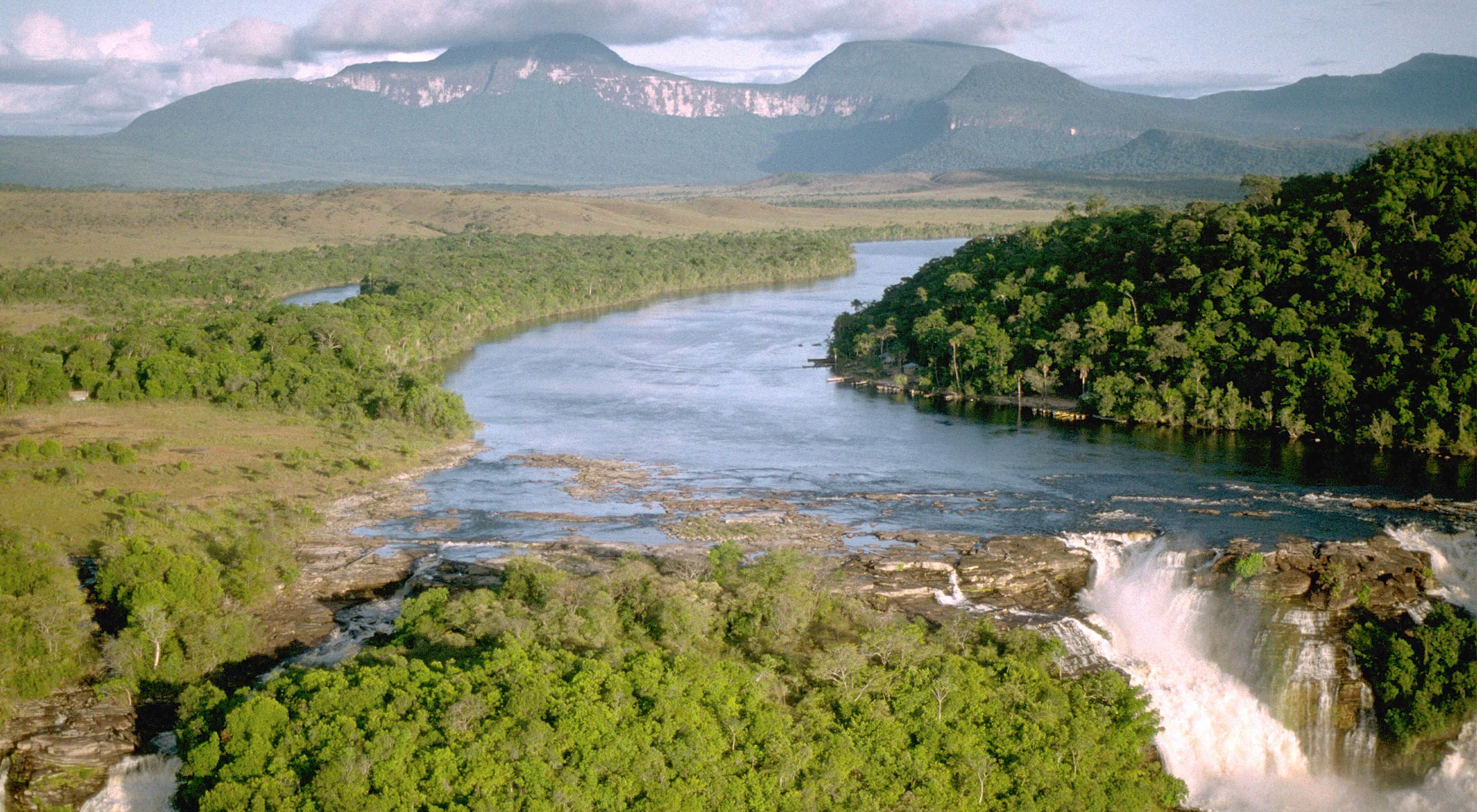 Aerial view of waterfalls at Canaima National Park in Venezuela, South America.
