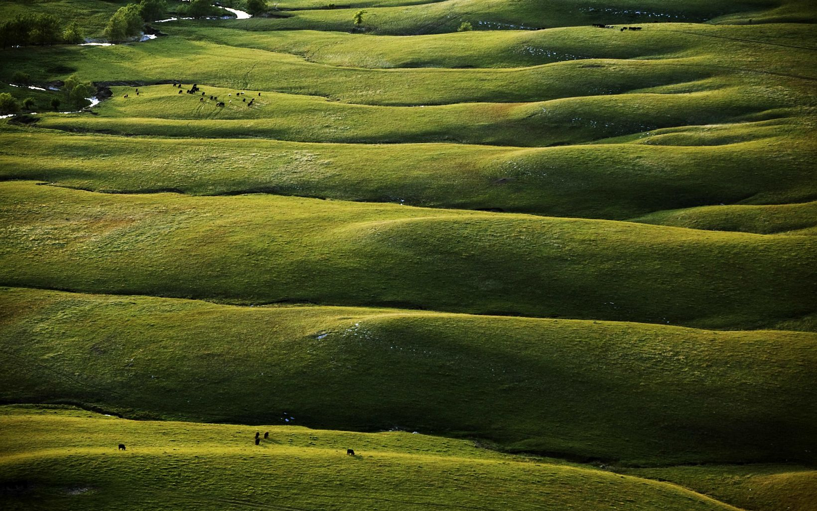 Aerial of the Flint Hills in the Beaumont area, generally north and east of Wichita, Kansas.