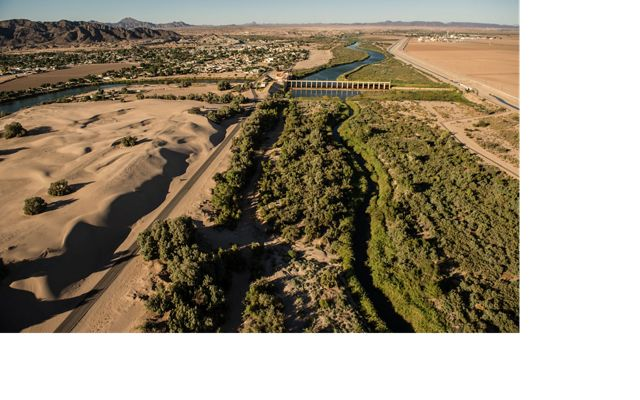 An aerial view looking North of the Morelos dam on the USA-Mexico border.