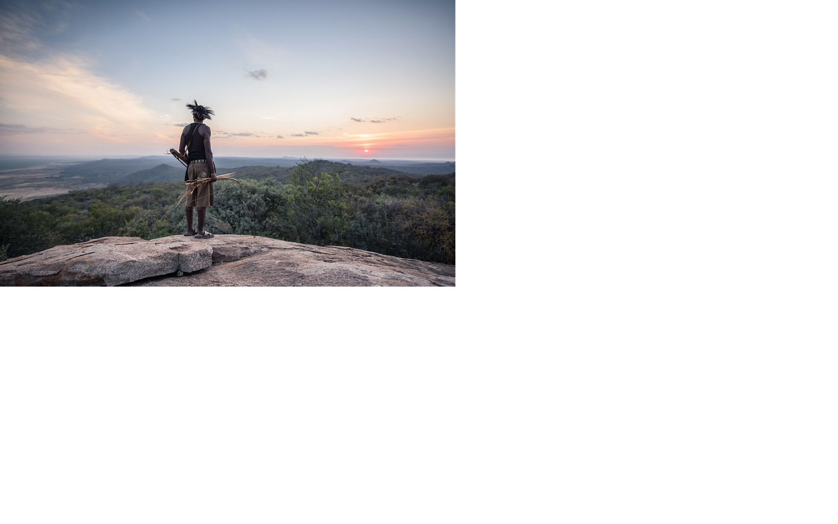 Hadza man looking at a sunset