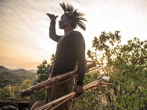 Hadza man looking out at landscape