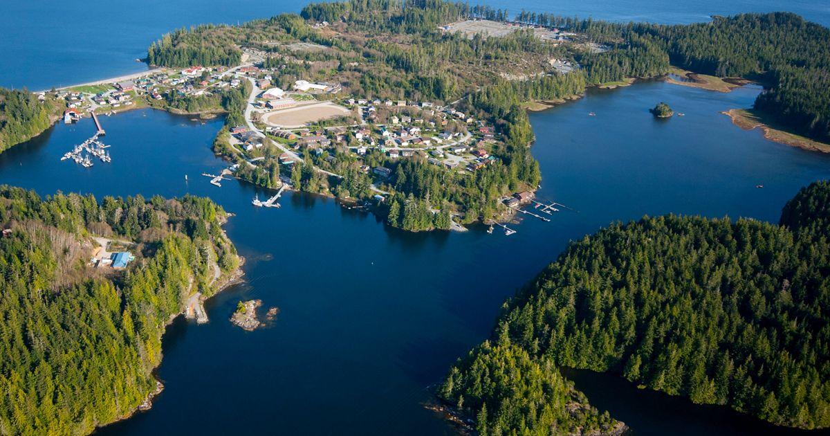 An aerial view of the Ahousaht Nation's villagein Clayoquot Sound