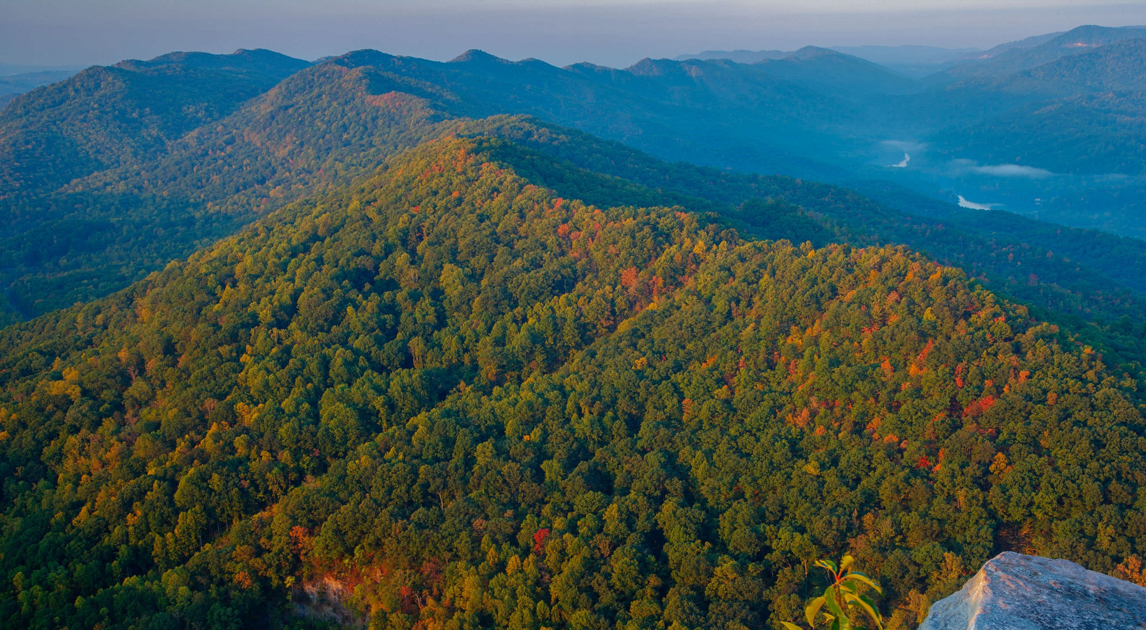 Aerial view looking down along the ridge of a green forested mountain. The ridge stretches to the horizon where it intersects with another ridge line. White mist dots the deep valleys.
