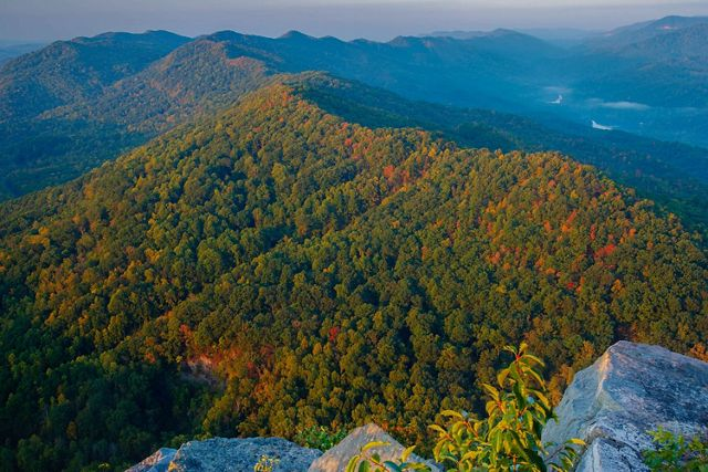 Aerial photo of Cumberland Mountains in Tennessee.