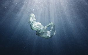 Plastic bag floating under water