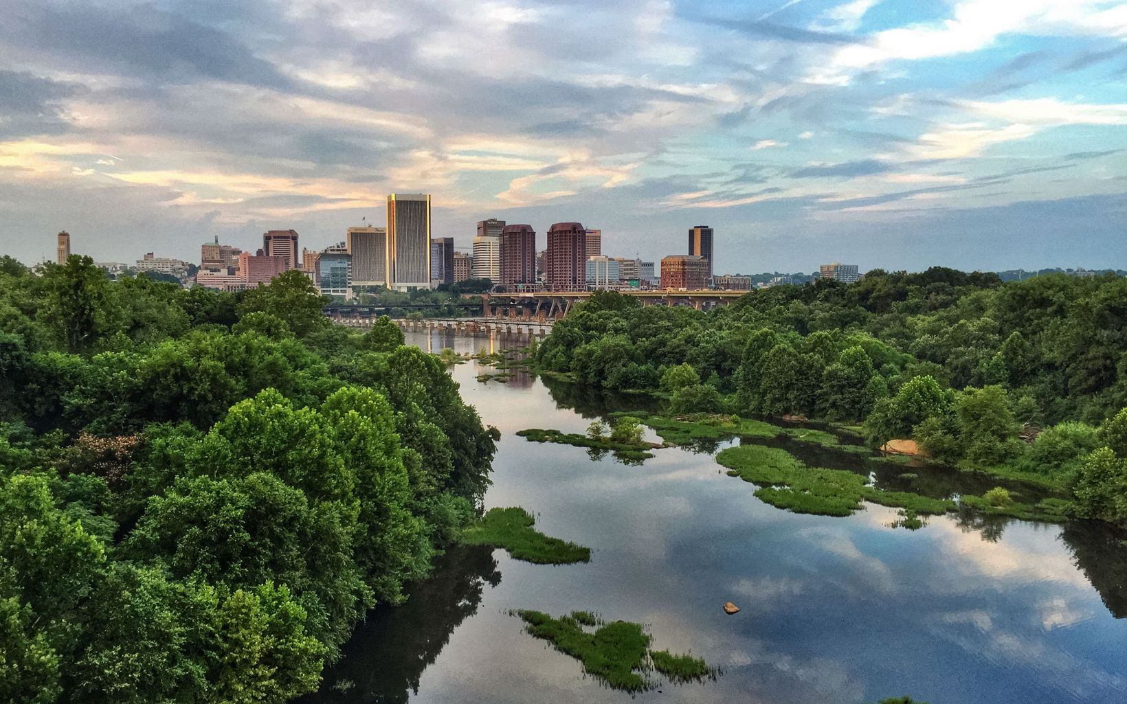 Richmond, Virginia is one of a handful of places that calls itself the River City. This image of Richmond's skyline was taken from the Lee Bridge, in Richmond, VA, USA.