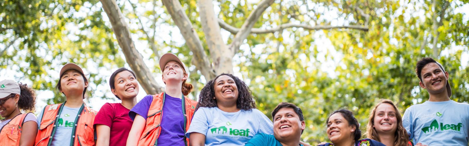 The Conservancy's LEAF and Healthy Trees, Healthy Cities program interns finishing a day of monitoring trees impacted by Hurricane Sandy in New York City. The interns worked during the summer of 2015 to monitor the health of the city's trees in the Bronx and Queens.