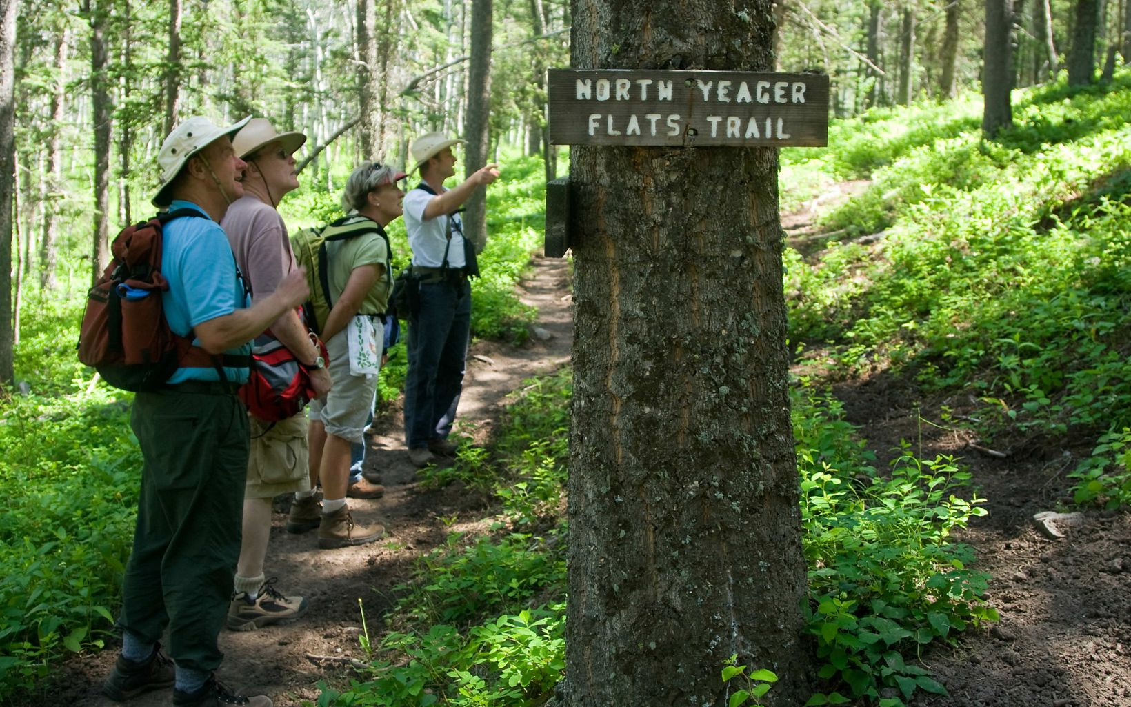 Members of the Conservancy's Legacy Club spend an afternoon hiking to Yeager Flats during their week-long trip to TNC's Pine Butte Guest Ranch in Montana.