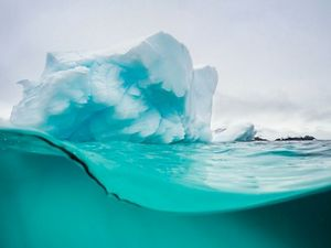 Half view under and above the surface of an iceberg.
