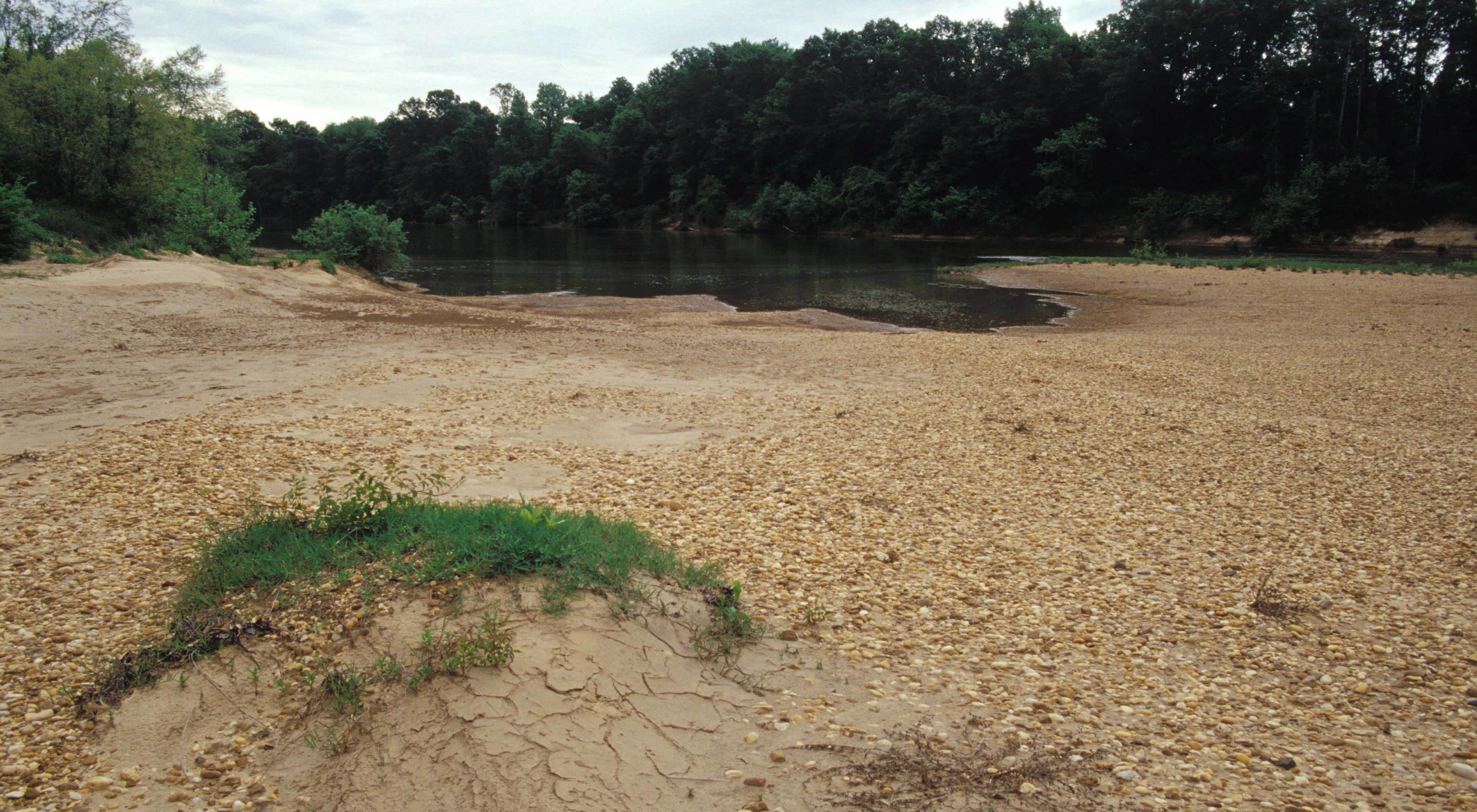 April 2002. Sand and gravel beach, with Cahaba River in mid-distance at Barton's Beach Preserve in Alabama.