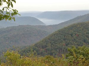 An overlook viewing of forested covered hills with mist rising from the valleys.