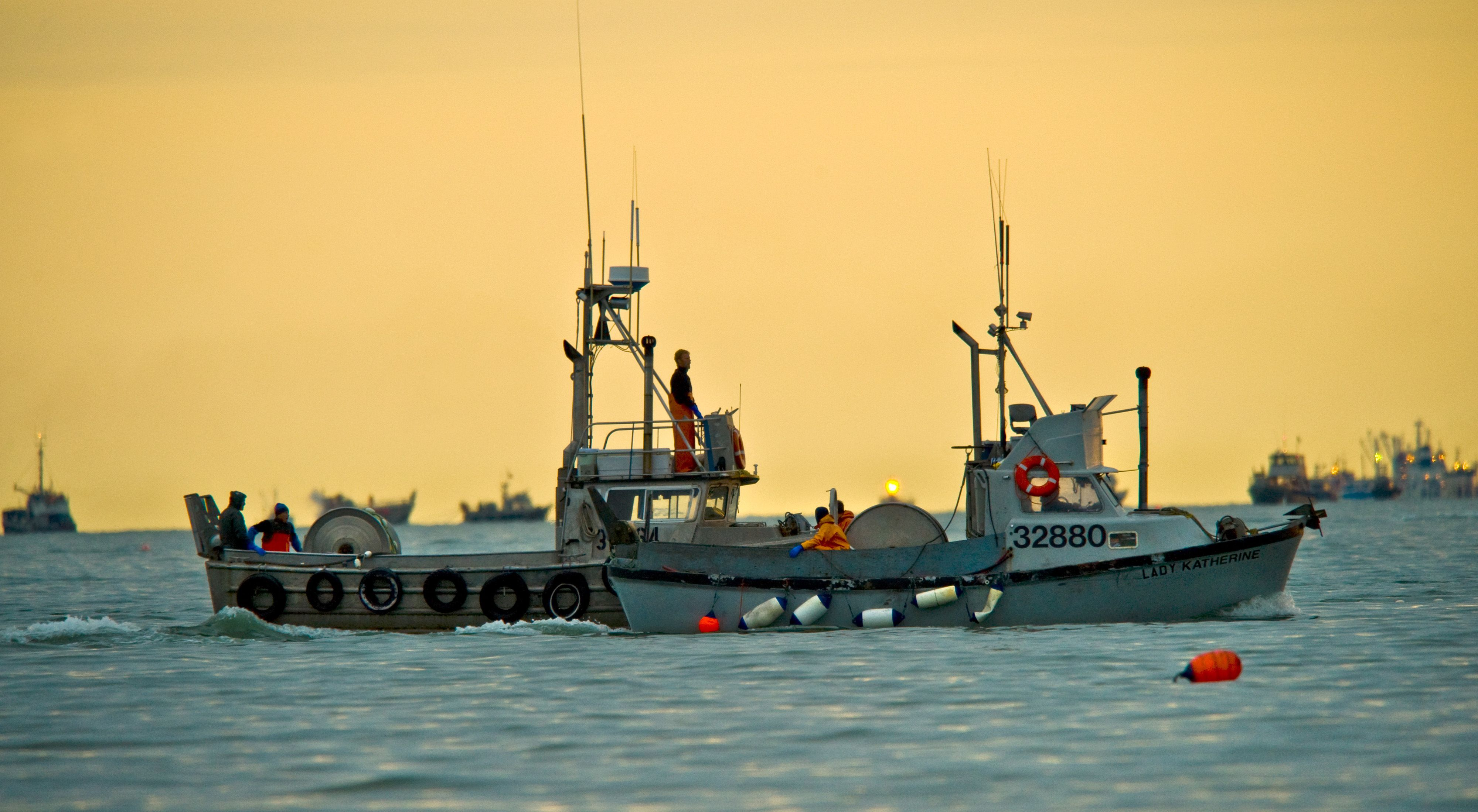 Two commercial fishing boats ply the waters of Alaska's Bristol Bay