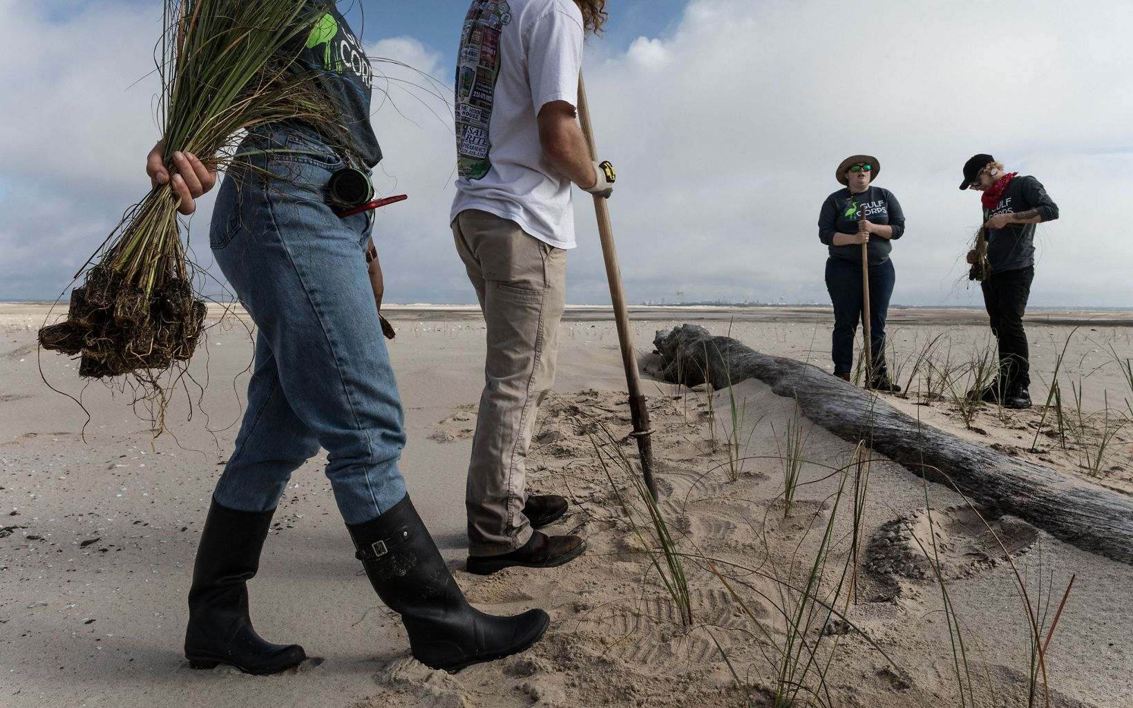 Members of the Conservation Corps on Round Island, a few miles offshore of Pascagoula, Mississippi, planting sea oats, helping to bring life to this manmade island created when the area was dredged. This project is also supported by The Nature Conservancy.