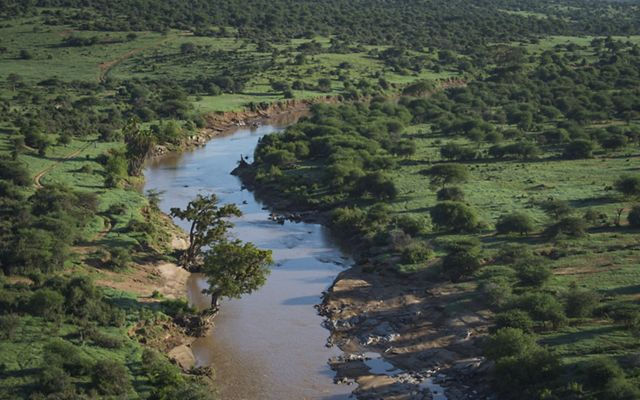 Loisaba, shown from the air in Laikipia, Northern Kenya.