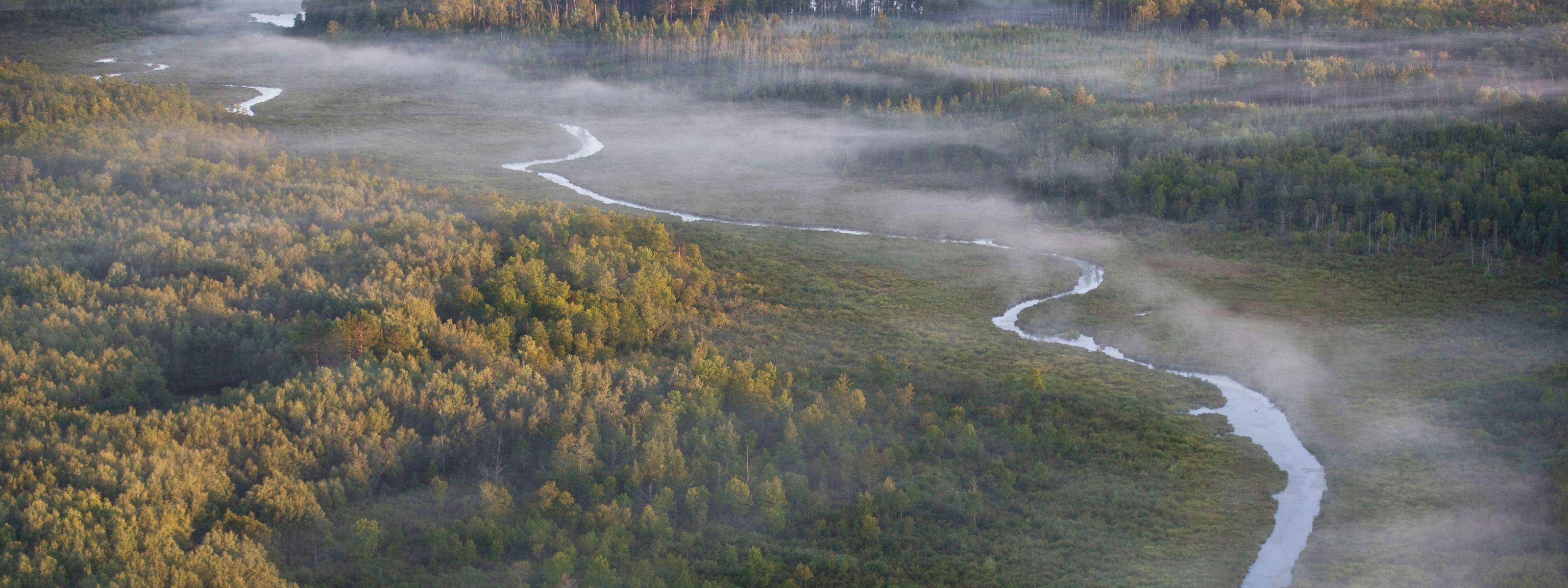 Aerial view of Split Hand Creek in UPM/Blandin forest land in Itasca County, Minnesota. The Upper Mississippi Forest project is the largest conservation effort ever undertaken by the state of Minnesota and one of the first and most significant accomplishm