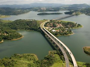 View of a multi-lane highway crossing a reservoir.