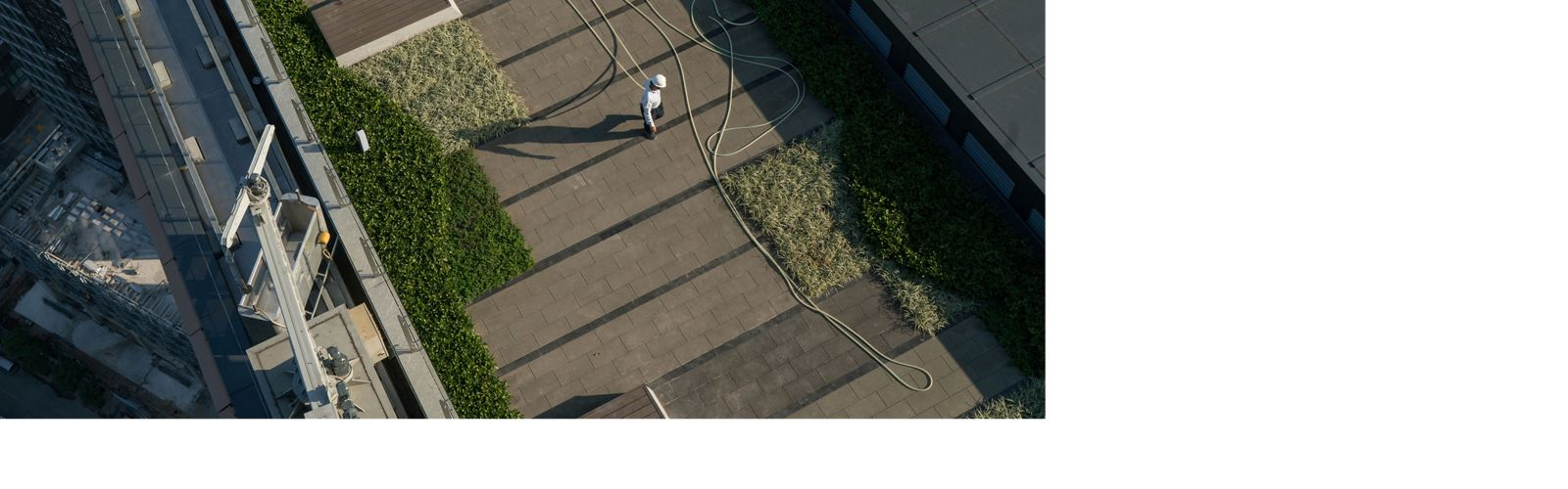An employee waters the gardens on the rooftop of the Tencent Binhai towers in Shenzhen, China.