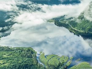 An aerial view of an estuary in Southeast Alaska.