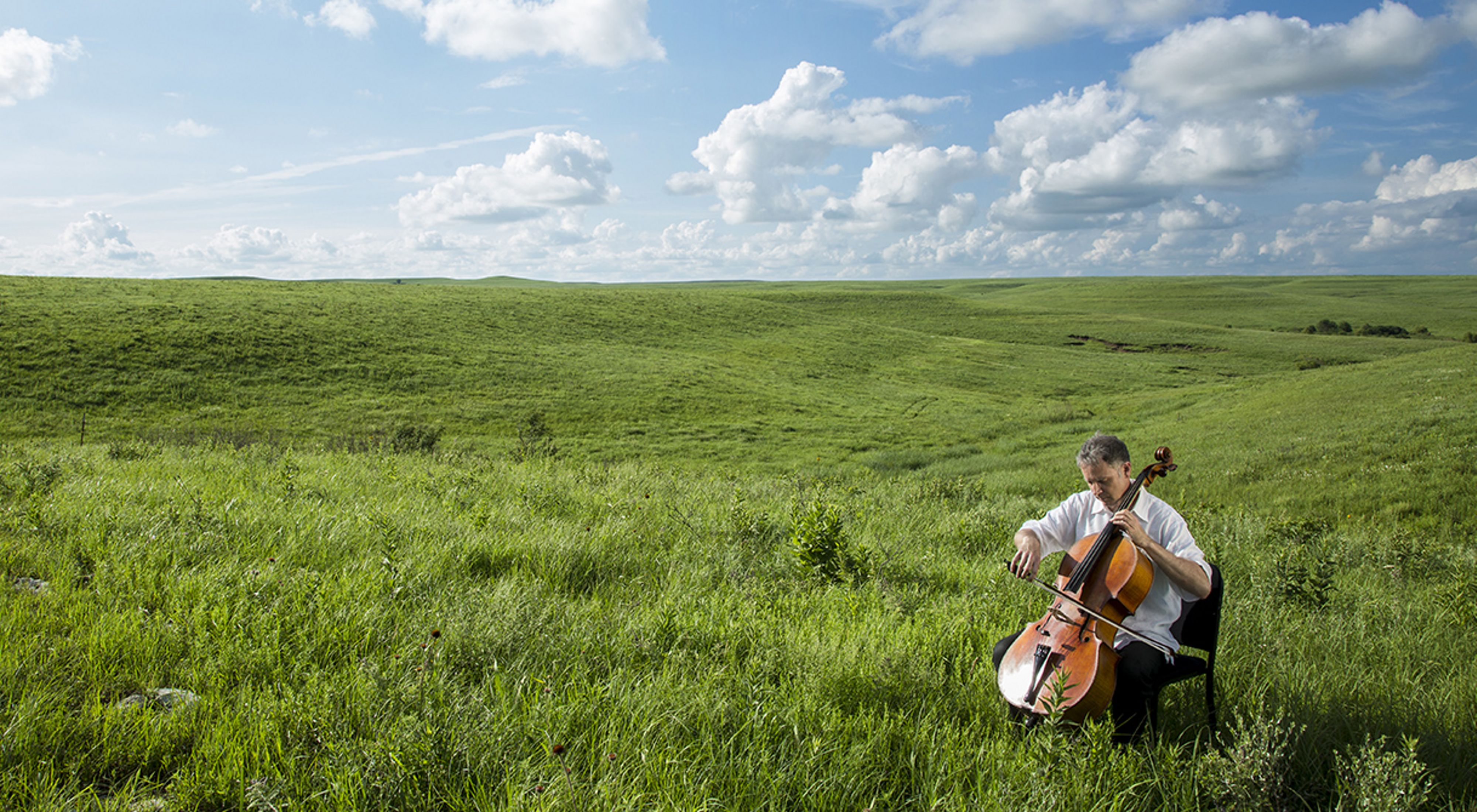 A cellist plays in a grassy field under a blue sky