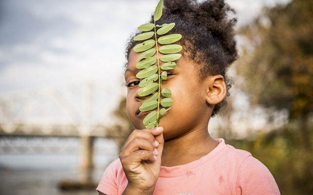 A young girl holds a leaf up in front of her face.