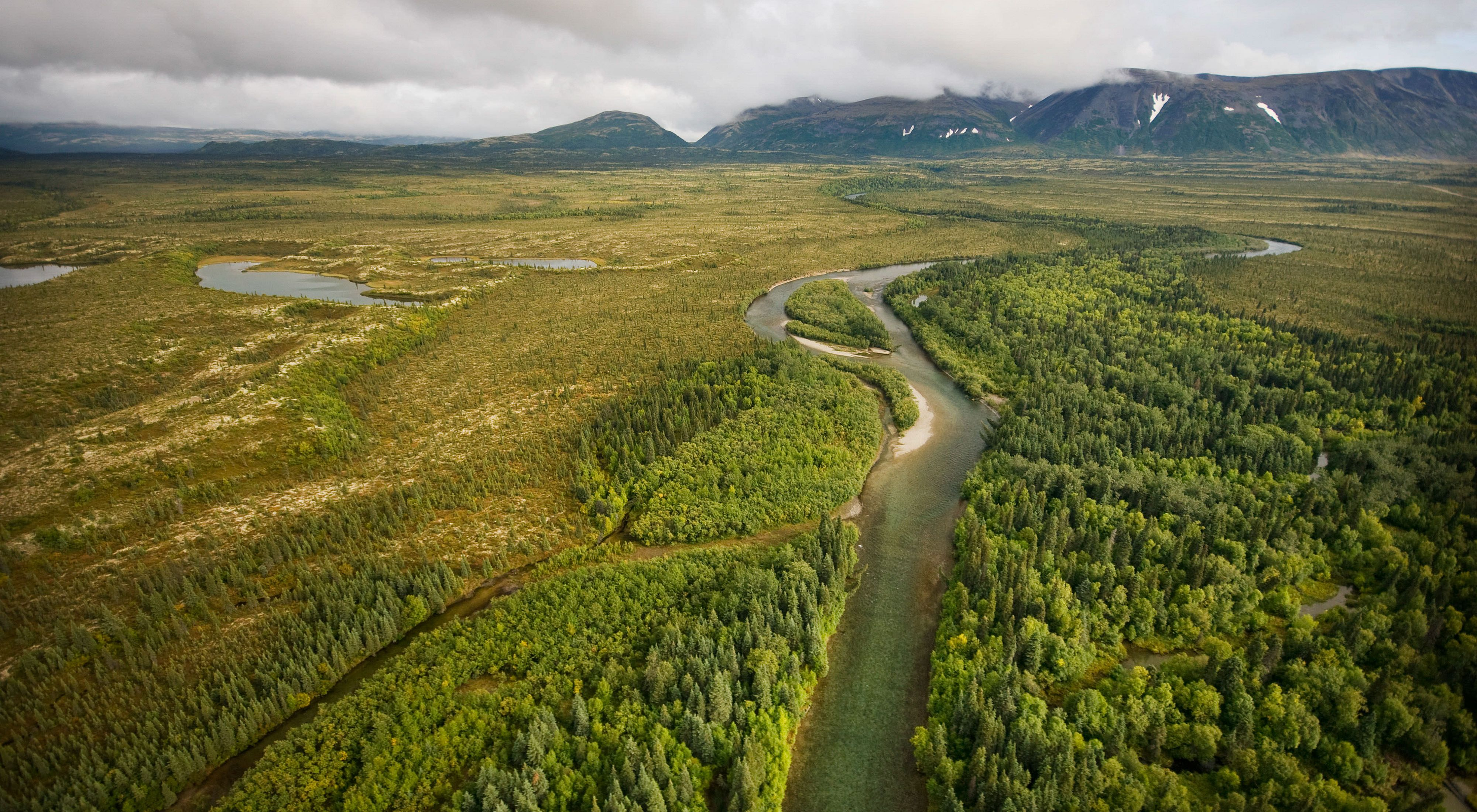 Aerial view of a small river flowing through tundra.