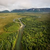 Aerial views of the Bristol Bay watershed in southwest Alaska, near the location of the proposed Pebble Mine.