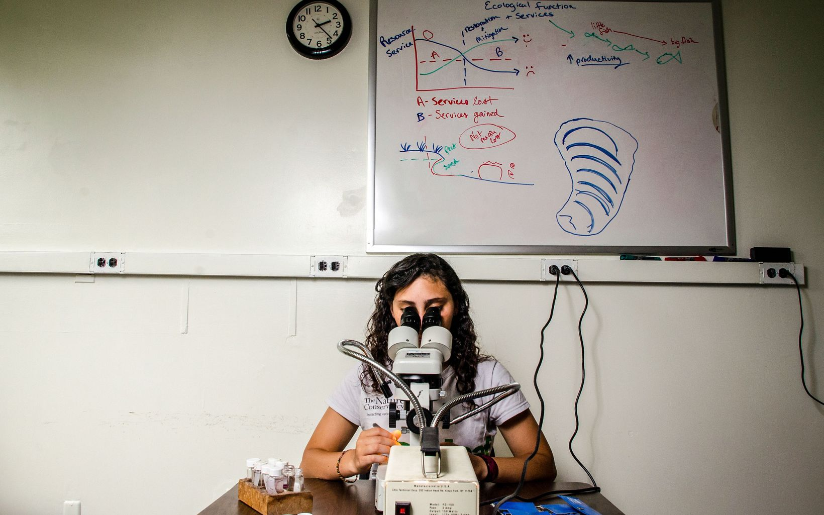 girl looks into microscope in a lab