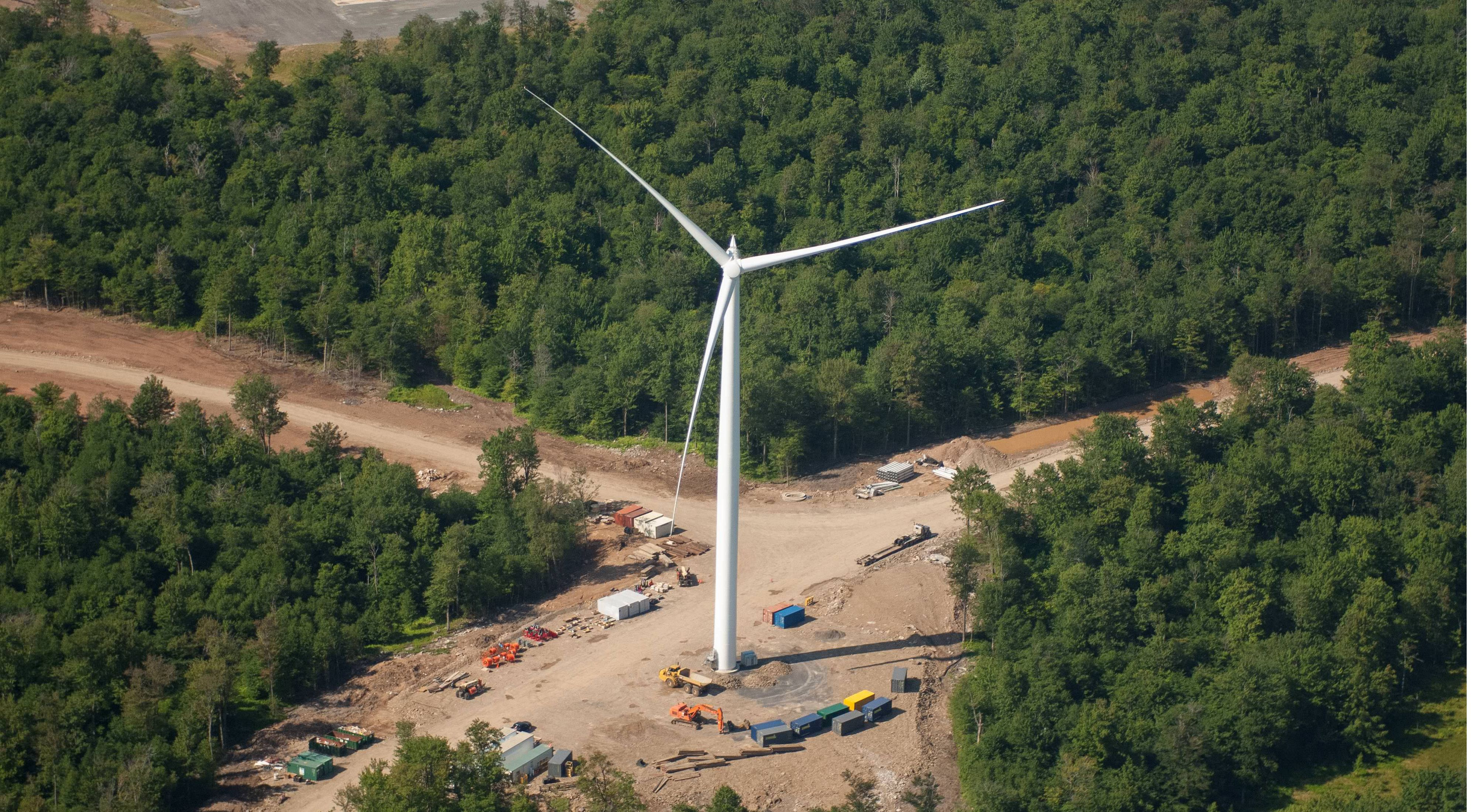 A new wind farm that was under construction along a ridge northeast of Williamsport, Pennsylvania