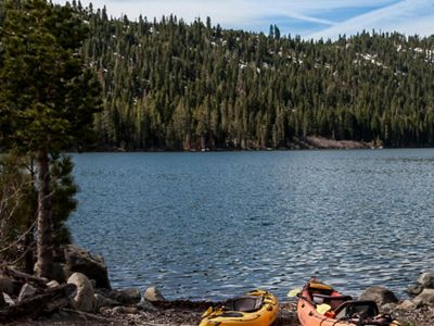 Kayaks at Independence Lake, one of the most pristine a