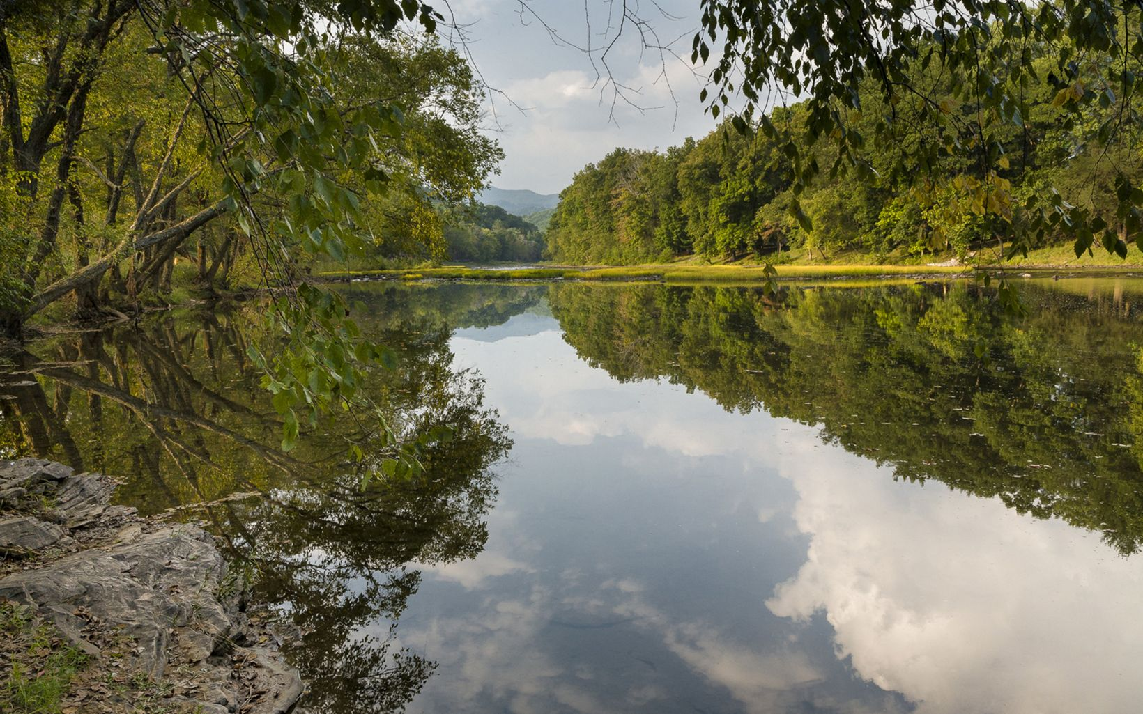 View of the Greenbrier River in West Virginia with refl
